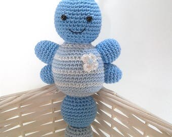 Blue and white amigurumi Butterfly cotton 21 cm