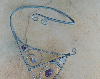 poetic choker and natural stones