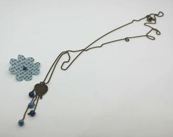 Tart collection: necklace hot air balloon, blue beads, silver - chain charm earrings available
