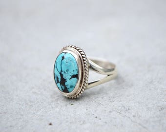 Sterling Silver Marbled Oval Tibetan Turquoise Ring - 925 - Natural Stone
