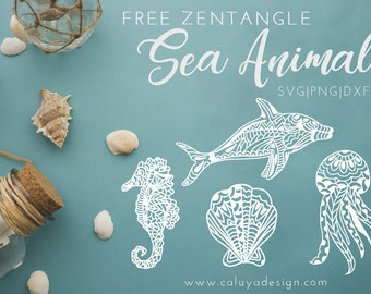 FREE SVG & PNG Link | Zentangle Sea Animals Cut Files, svg, png, dxf, eps | Commercial Use | circuit, cameo silhouette | Sea horse, Dolphin