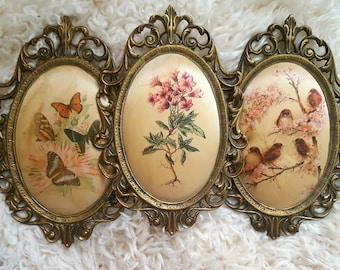 3 set vintage images motifs silk of shabby picture frame