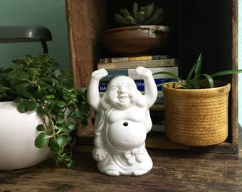 Happy Buddha Succulant Planter~ Vintage Buddah Statue~ Cermaic Planter Vase