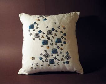 Hand-painted, Screen-printed, Scattered Stud Cushion featuring Emerald and gold accents
