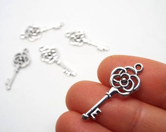 Rose Key Charm double sided 27 x 11mm, Silver Coloured Charm