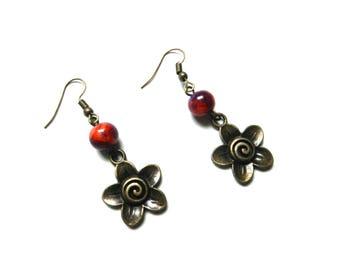 Earrings, bronze, beads, glass, orange, purple, flowers, spiral