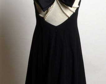 Circa 1980s Victor Costa Little Black Dress with Pearls and Bow