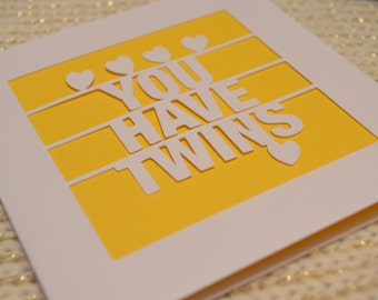 You Have Twins Papercut Greetings Card Newborn Celebration Parents