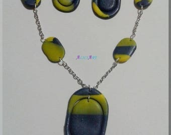 Necklace - Blue and yellow oval Stud Earrings