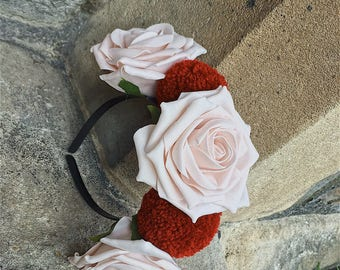Mocha pink rose and deep red pompom headband