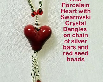 Red Ceramic Heart Necklace and Matching Earrings