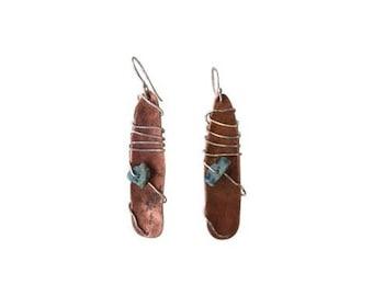 Handcrafted Dangle Earrings- Copper
