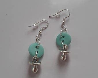 Lollipop charm and Mint green button earrings
