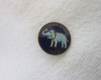 1938 Antique Political Republican Party Member Enameled Pinback Sustaining Member Elephant