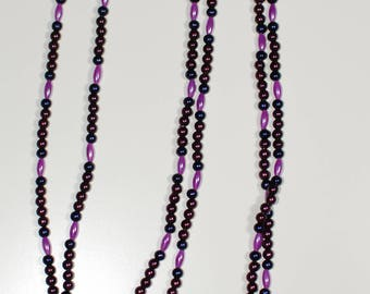 32 inch All Purple Beaded Necklace
