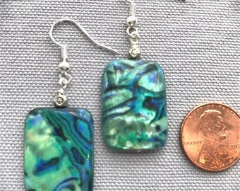 Marble Blue and Green Shell Earrings