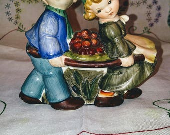 1950's Hand Painted Boy and Girl Wall Pocket Planter