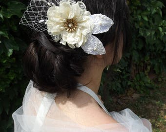 beaded lace flower bridal comb