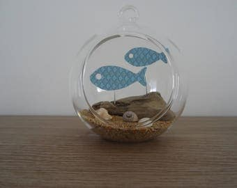 Suspension / fish decoration to hang or place glass ball. wedding decoration