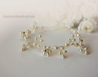 Wedding Headband Bridal Hair Jewelry Bridal Headband Wedding Headpiece Silver Hair Accessories Bridal Hair Vine