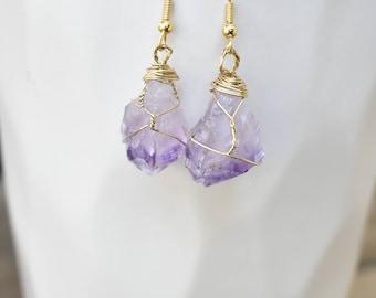 Violet earrings // wire wrapped amethyst earrings