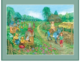 Printable nursery prints, printable nursery wall art, green nursery print, nursery farm animal print, donkey art print, nursery art