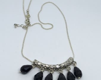 Black faceted glass drop sliver plated necklace Handmade