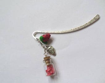 Bookmark version strawberries and love polymer clay