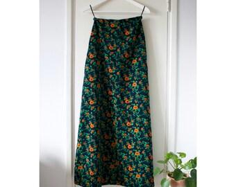 Vintage Corduroy Maxi Floral Boho Skirt Navy Blue Small A-line High Waist