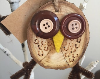 Wood owl ornament wedding favor rustic