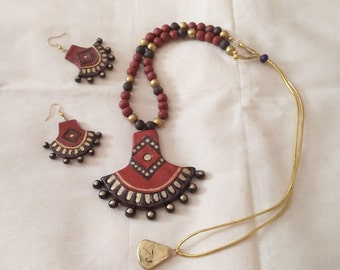 Burrnt orange,Brown,gold colored necklace with matching earrings-indian jewelry -terracotta clay jewelry-polymer clay jewelry