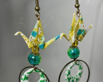 Mustard yellow birds earrings and green origami - cherry blossom pattern