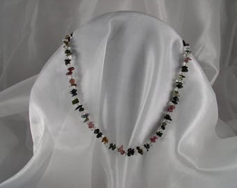 Crystal healing, multicolored Tourmaline and rock Crystal Necklace