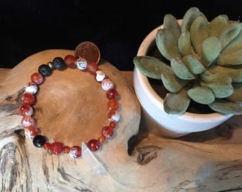 Stretch Diffuser Bracelet: Fire Agate and Crystal Point