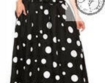 Black w/White Polka Dot Pleated Skirt