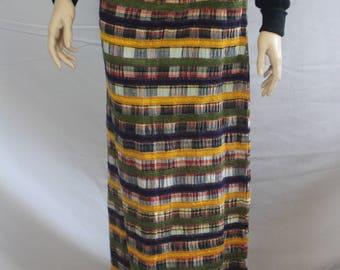 70s madras skirt, vintage 1970s skirt, yellow blue red, vintage multicolored skirt, plaid striped maxi skirt, full length, 1970s small S