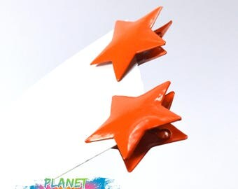 Small Mini Clothes Pegs Star orange coral clip star | Clothes Pins metal | metal star orange  | Clip fastener tether supplies clamp