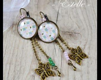 Dangling earrings - Butterfly charm - model Estelle