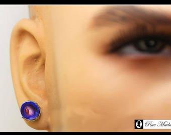 Hand painted man of steel stud earring