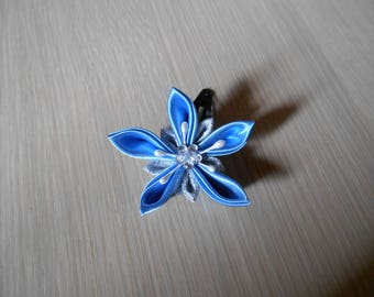 Hair clip with blue and silver satin flower