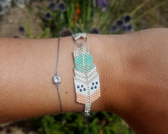 Bracelet beads Miyuki - salmon and turquoise colored feather with Ribbon