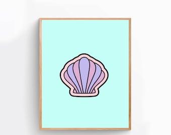 Mermaid Shell Art Print, Modern Poster Print, Dorm Decor, Apartment Decor,  Gift for Men, Gift for Women, Home Décor, Wall Art, Print [MR3A]