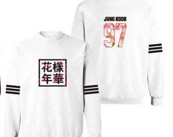 White Forever Young Floral BTS Hoodie Kpop - all members available