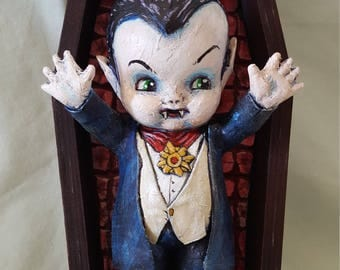 Vampire Kewpie Doll with Coffin