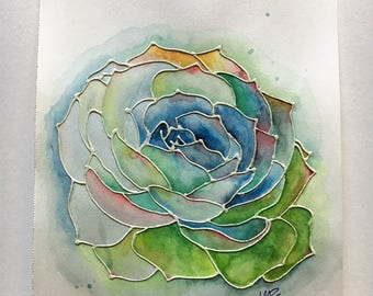 Watercolor Painting - Succulent