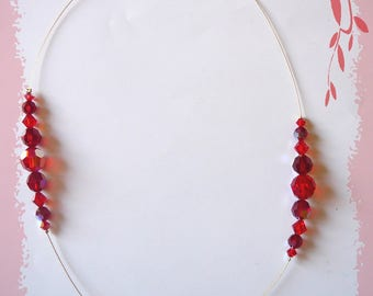 Red swarovski crystal Pearl Necklace