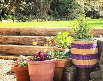 Purple/Natural handwoven sisal storage basket