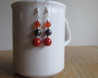 Reflective Orange and Black Hematite Dangle Earrings