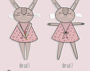 BUNNY LOVE Die Cut | Vintage | Easter | Hand Drawn | Erin Condren | TN | D134 and D135