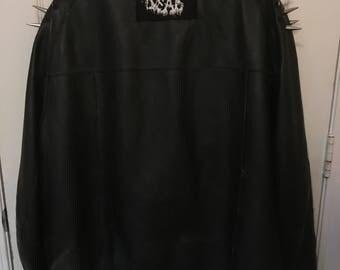 Vintage Punk Goth Metal Vegan Leather Spike Band Jacket
